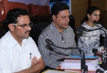 Divisional Commissioner Sanjeev Verma addressing press conference on Monday. -Excelsior/Rakesh