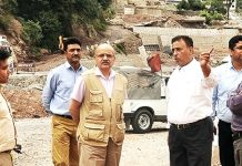 Chief Secretary BVR Subrahmanyam inspecting langer sites at Ramban on Tuesday.