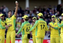 Australian players celebrating victory against West Indies in World Cup match at Nottingham on Thursday.