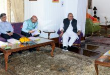 Governor Satya Pal Malik chairing the SAC meeting in Srinagar on Thursday.