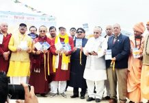Palga Rinpoche and others releasing a booklet on 'Sindhu Darshan' at Leh on Monday. -Excelsior/ Morup Stanzin
