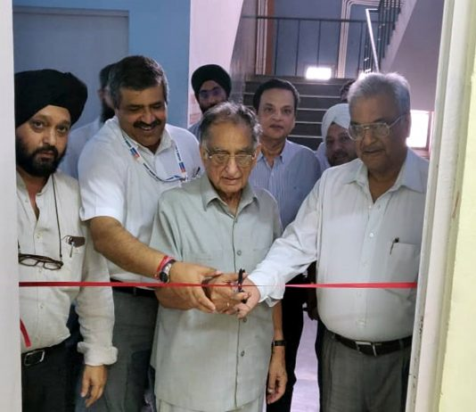HL Maini, vice president, DK Batra, joint secretary and Dr Pavan Malhotra, Director Principal ASCOMS, jointly inaugurating Skill Demonstration Lab in Surgery Department.