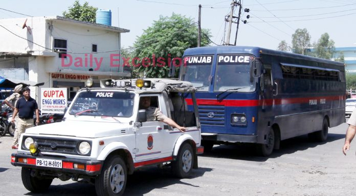 Accused being taken to Pathankot court before pronouncement of verdict on Monday. —Excelsior/Rakesh