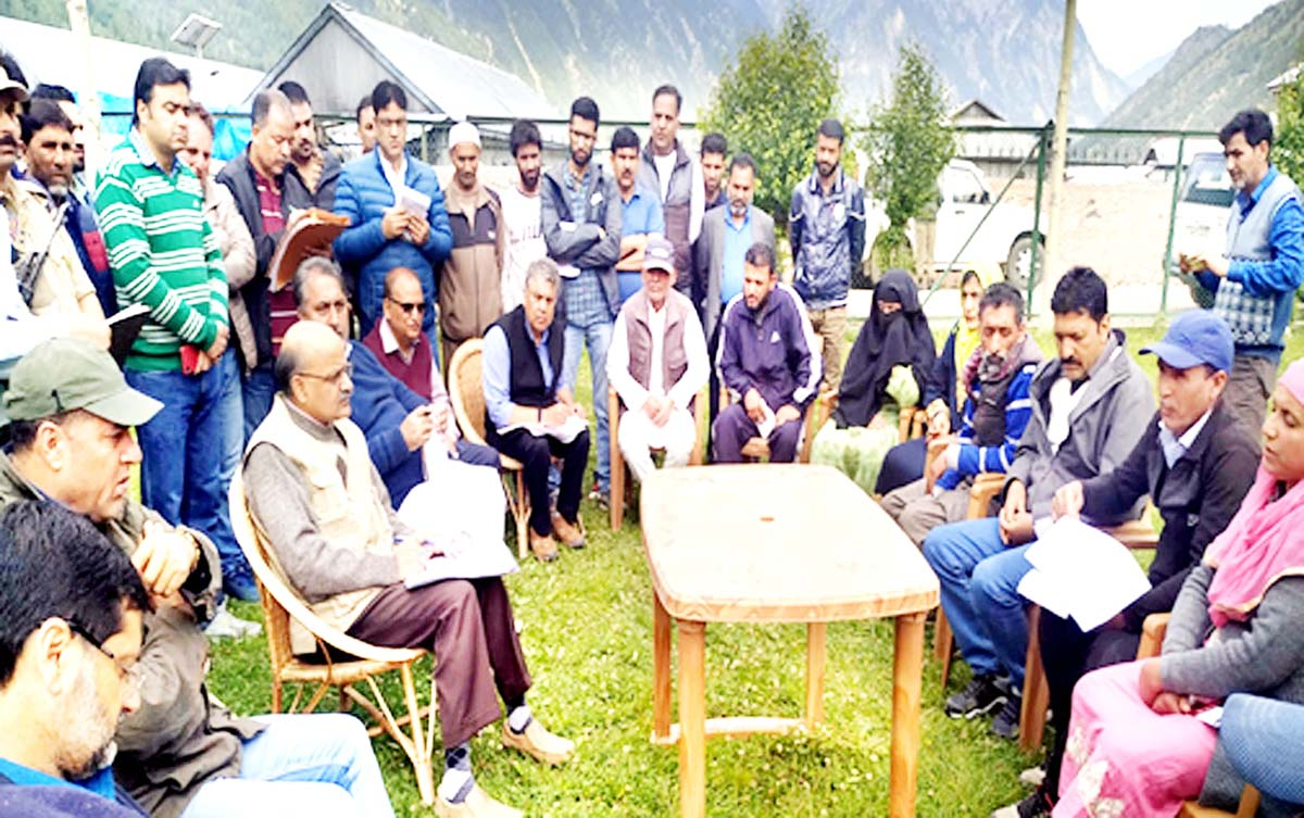 Chief Secretary BVR Subrahmanyam participating in the Back to Village Programme at Gurez in Bandipora district on Monday.