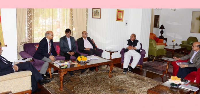 Governor Satya Pal Malik presiding over the SAC meeting in Srinagar on Saturday.