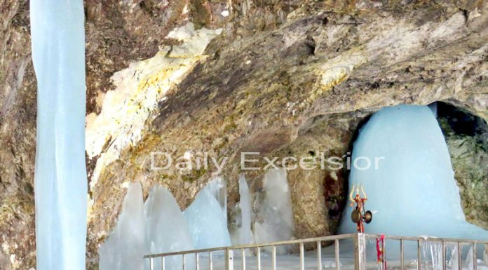 Holy Ice Lingam of Lord Shiva in full form inside Shri Amarnath Ji cave shrine in South Kashmir Himalayas. Watch video on www.excelsiornews.com -Excelsior/Sajjad Dar