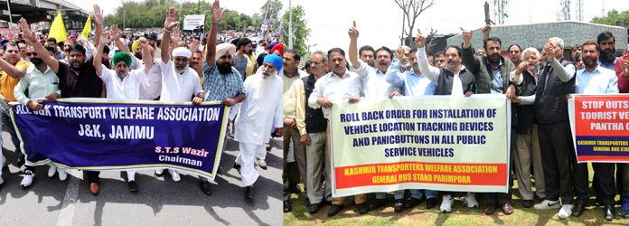 Transporters protesting in support of their demands in Jammu (left) and Srinagar (right) on Wednesday. —Excelsior pics by Rakesh & Shakeel