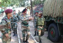 Northern Command chief Lt Gen Ranbir Singh at an Army formation to review situation on Wednesday.