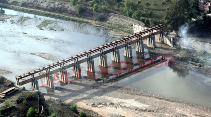 A view of abandoned River Tawi barrage project. -Excelsior/Rakesh