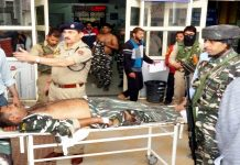 An injured CRPF jawan being shifted to Anantnag hospital on Wednesday. —Excelsior/Sajjad Dar
