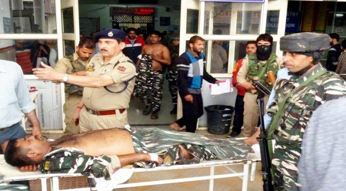 An injured CRPF jawan being shifted to Anantnag hospital on Wednesday. —Excelsior/Sajjad Dar