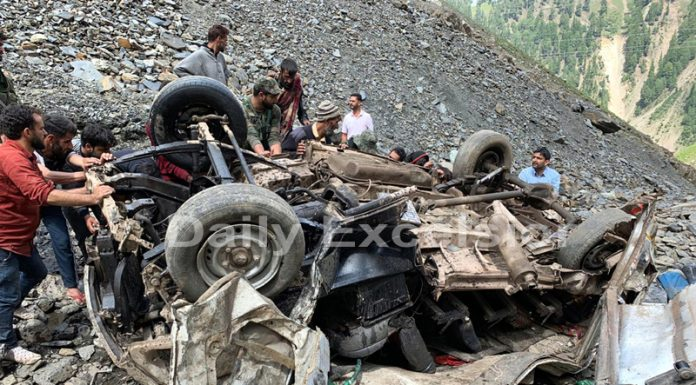 Wreckage of vehicle which rolled down on Mughal Road, lying in deep gorge near Peer-Ki-Gali on Thursday. -Excelsior/Younis Khaliq