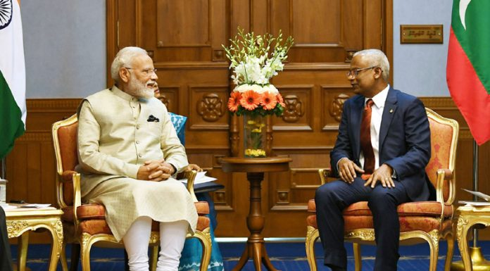 Prime Minister Narendra Modi meeting President of Maldives Ibrahim Mohamed Solih in Male, Maldives on Saturday. (UNI)