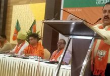 Union Minister, Dr Jitendra Singh addressing BJP working committee meeting at Birpur on Sunday.