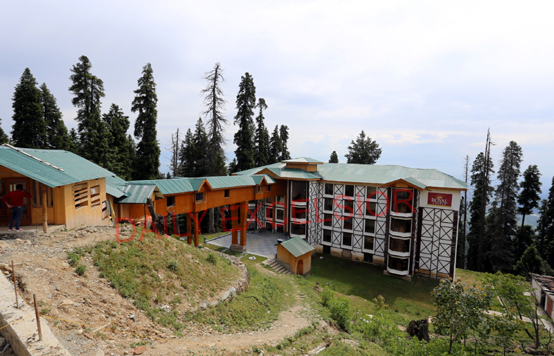 Dried trees around illegally constructed hotels in Gulmarg. -Excelsior/Aabid Nabi