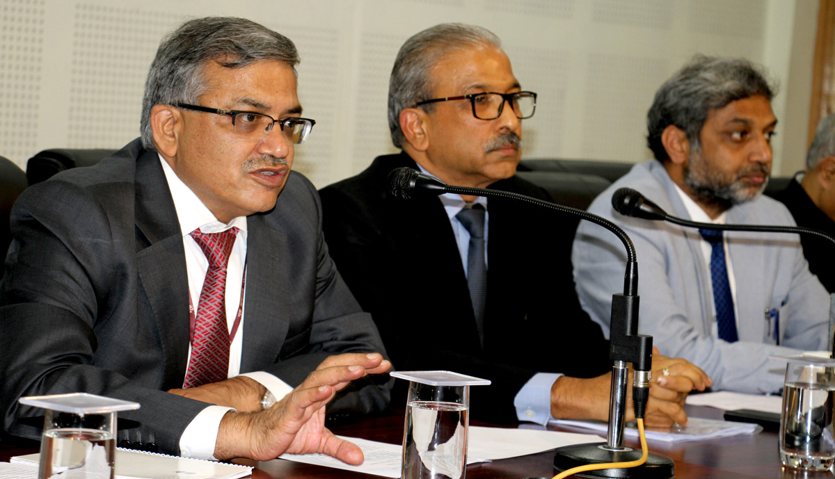 A P Maheshwari, Special Secretary Internal Security in MHA addressing press conference in Srinagar on Wednesday. —Excelsior/Shakeel