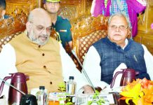 Union Home Minister Amit Shah and Governor Satya Pal Malik at development review meeting in Srinagar on Wednesday.