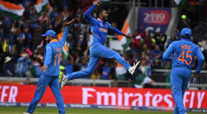 Hardik Pandya celebrates after taking wicket of Pakistani player during World Cup 2019 match at Old Trafford Cricket Ground in Manchester on Sunday. India won by 89 runs (D/L method). (UNI).