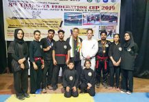 Medal winners in 8th Thang-Ta Federation Cup posing for a group photograph.