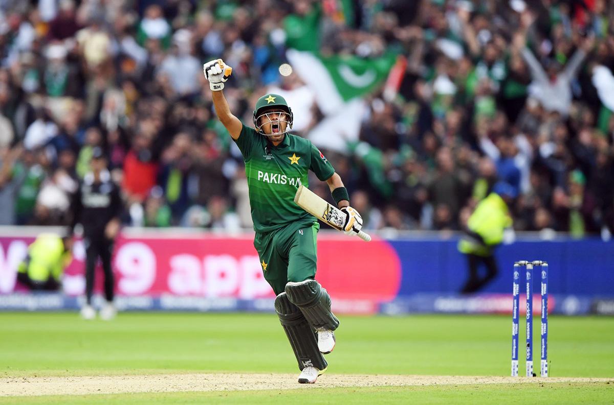 Babar Azam celebrating his century against New Zealand in Birmingham.