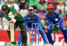 Bangladesh batsman Mushfiqur Rahim executing a shot against Afghanistan in World Cup match at Southampton on Monday.