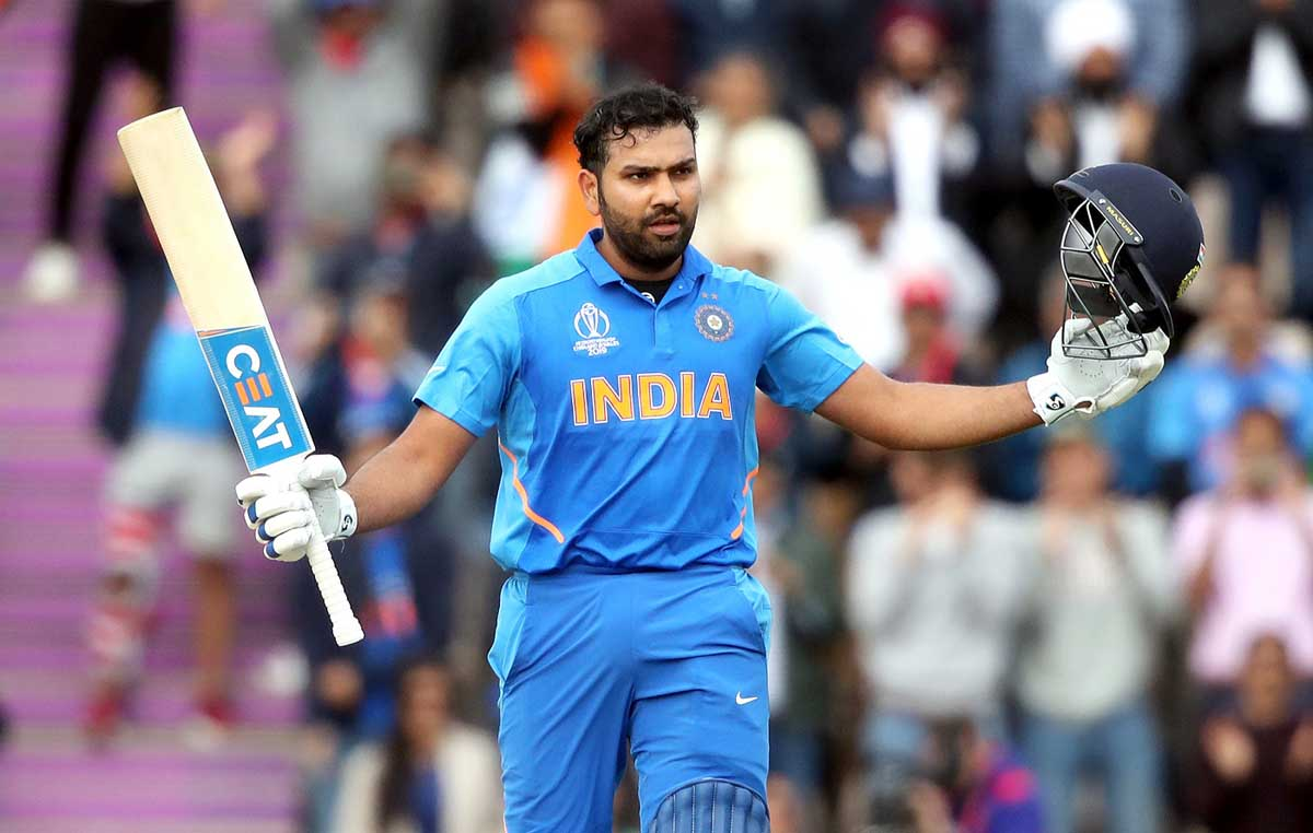 Rohit Sharma celebrating his century against South Africa in World Cup 2019 match at Southampton.