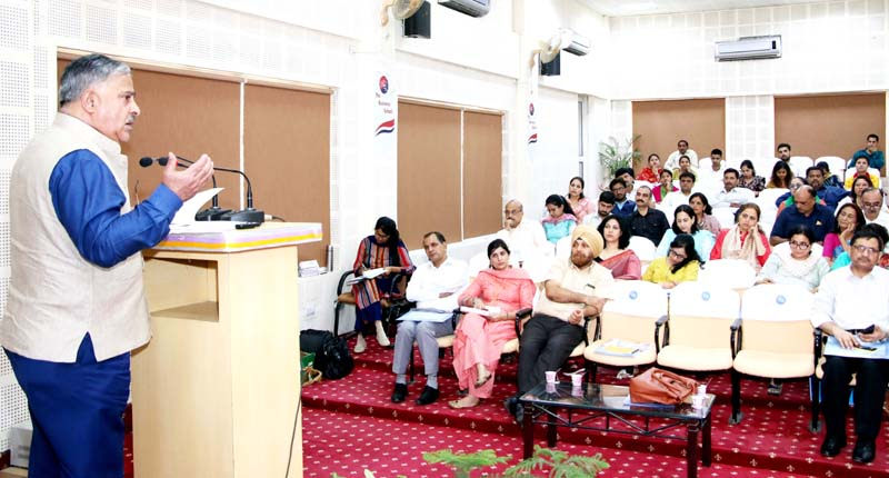 An educationist speaking during a round table conference organized on National Education Policy in Jammu.