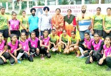 Day-3 winners of 7-A-Side Hockey Tournament posing for a group photograph in Srinagar on Saturday.