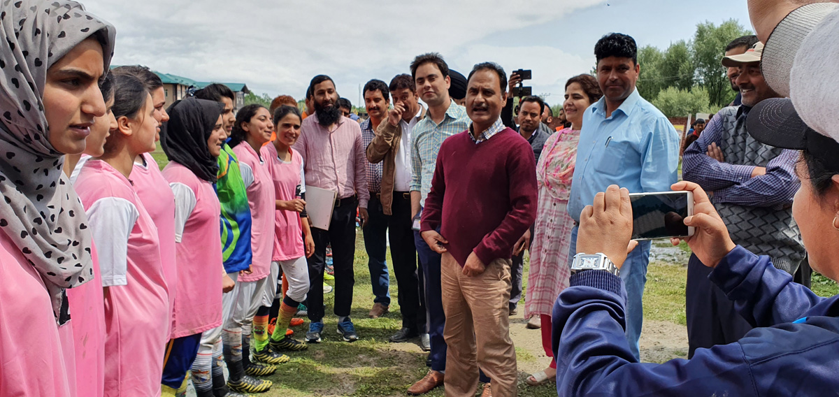 DG Sports, Dr Saleem-ur-Rehman with players and officials during his visit at the venues of mega Football Tournament in Valley.