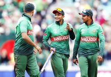 Bangladesh players' celebrating victory against South Africa in World Cup match at London on Sunday.