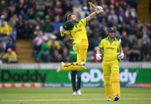 David Warner celebrating his century against Pakistan in World Cup match at Taunton on Wednesday.