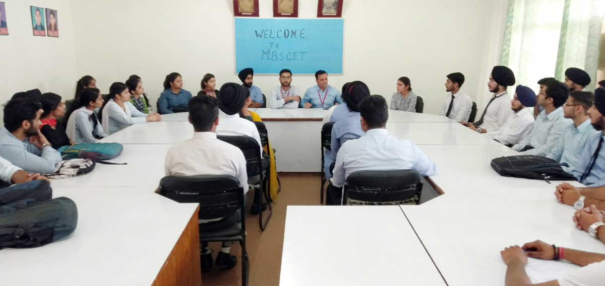 Students during placement drive at MBS College in Jammu.