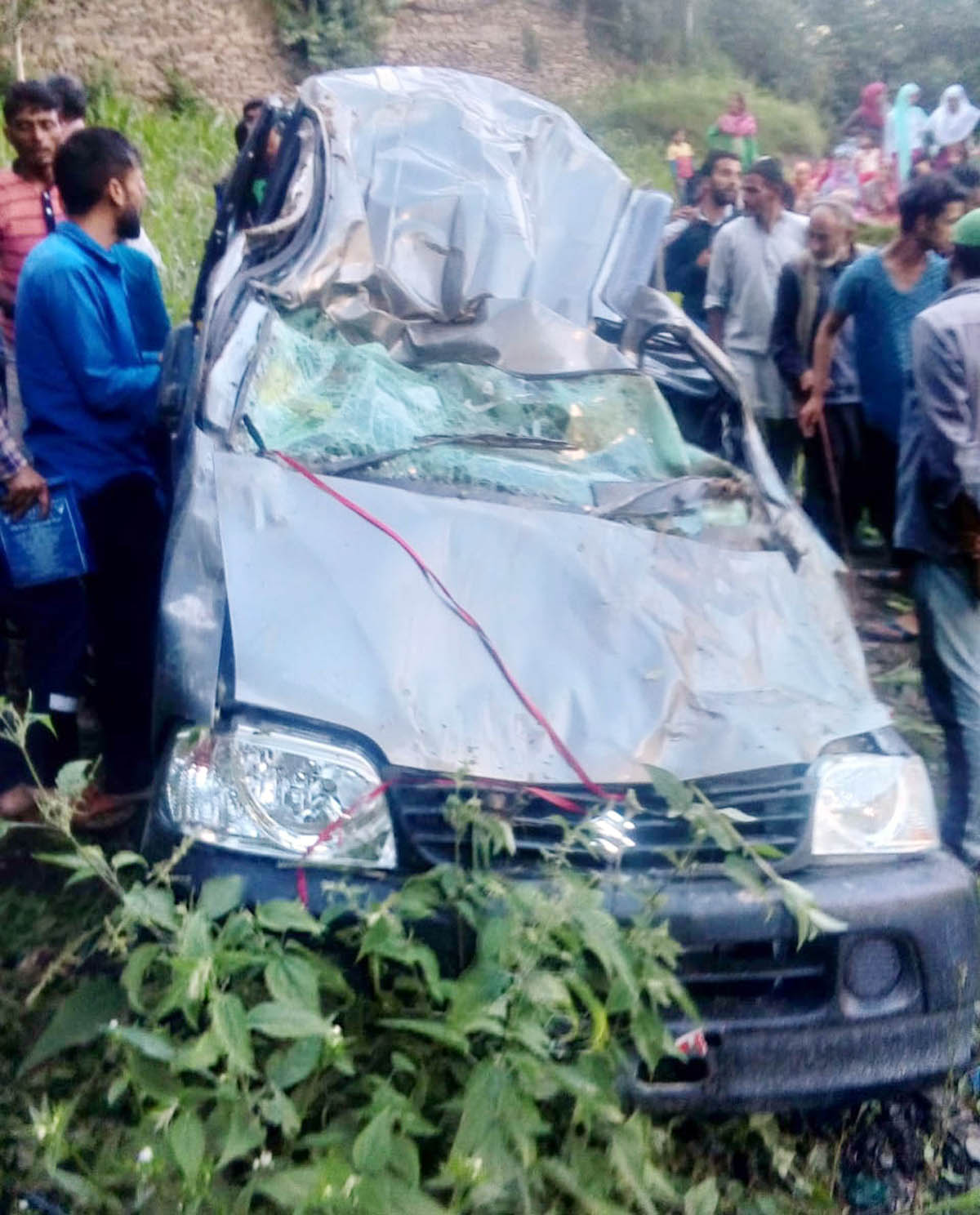 Ill-fated vehicle after accident near Soti in District Doda. —Excelsior/Rafi Choudhary