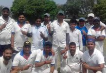 JU Employees' team posing for a group photograph after beating Media XI at University ground on Sunday.