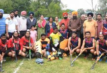 Players posing alongwith dignitaries and officials during the inaugural ceremory of North Z one 7-A side Hockey Tournament in Srinagar.