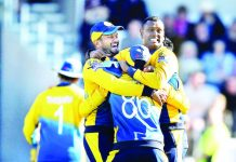 Sri Lanka celebrate after stunning England, winning the match by 20 runs, World Cup 2019, Headingley, June 21, 2019