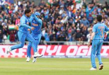 Kuldeep Yadav celebrates with teammates after taking wicket of Pakistani player Babar Azam during World Cup 2019 match at Old Trafford Cricket Ground in Manchester on Sunday. (UNI)