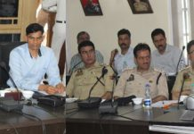 Incharge ADGP Danesh Rana chairing a meeting to review arrangements of Kashmir Marathon 'Run for Peace' in Srinagar.