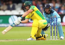 Australia's Aaron Finch executing a cover drive during his knock of 100 runs against England in WC match at London.