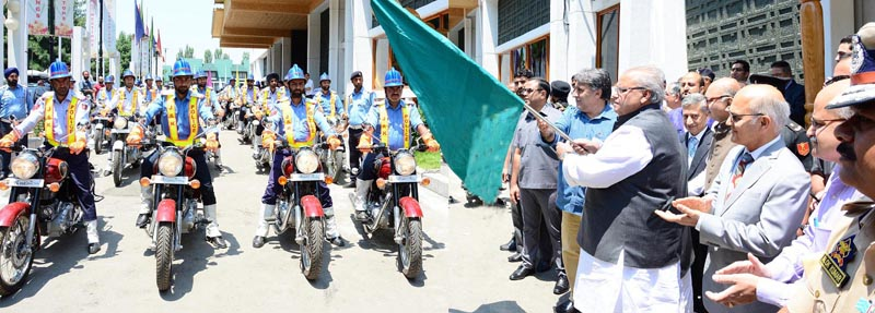 Governor Satya Pal Malik flagging off motorcycle squad of Traffic Police on Wednesday.