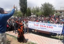AGEA Leh President Tashi Chosphel addressing the rally at Polo Ground in Leh on Wednesday. —Excelsior/Morup Stanzin