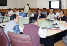 Chief Secretary BVR Subrahmanyam chairing 17th Steering Committee meeting of CAMPA in Srinagar on Sunday.