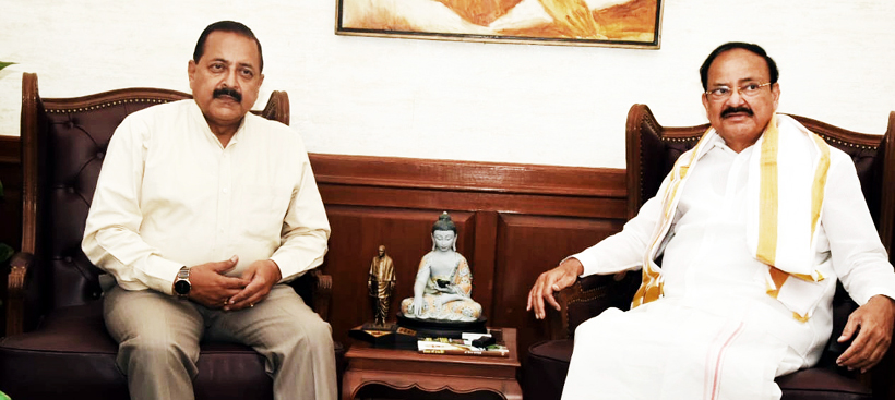 Union Minister Dr Jitendra Singh during a meeting with Vice President M. Venkaiah Naidu, at New Delhi on Tuesday.