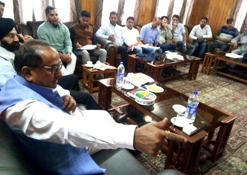 J&K Legislative Assembly Speaker, Dr Nirmal Singh during a meeting on Wednesday.