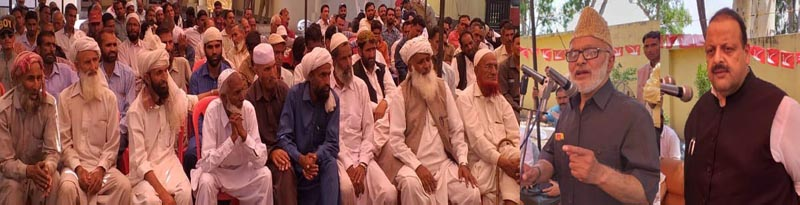 Senior NC leaders Ali Mohammed Sagar and Devender Singh Rana addressing workers at Sunderbani on Wednesday.