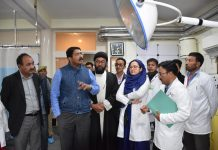 Divisional Commissioner Ladakh Saugat Biswas inspecting CHC Sankoo in Kargil on Friday.