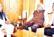 Director General, IMD K J Ramesh briefing Governor Satya Pal Malik on Tuesday.