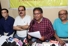 PK leaders at a press conference at Jammu on Sunday.— Excelsior/Rakesh