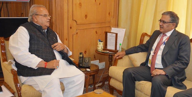 Additional Secretary MHA Gyanesh Kumar in a meeting with Governor Satya Pal Malik in Srinagar on Friday.