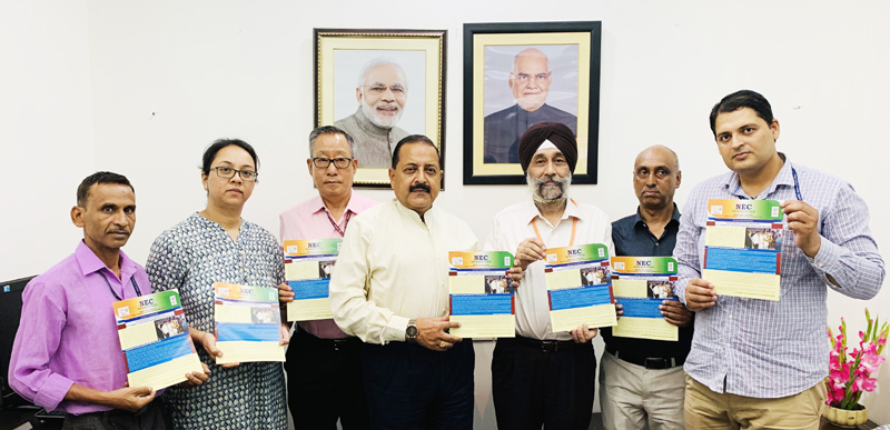 Union DoNER Minister Dr Jitendra Singh, flanked by Union Secretary DoNER and Secretary North-Eastern Council, releasing the latest issue of North Eastern Council (NEC) Newsletter, at New Delhi on Tuesday.